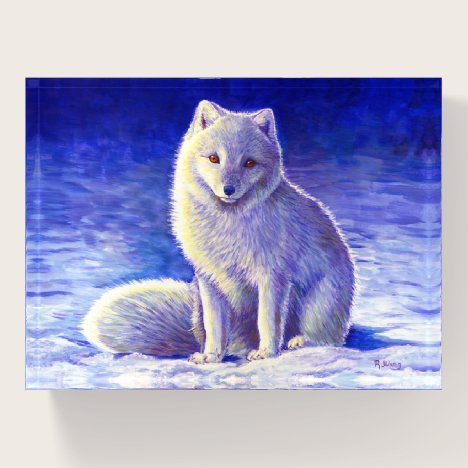 Peaceful Winter Arctic Fox Glass Paperweight