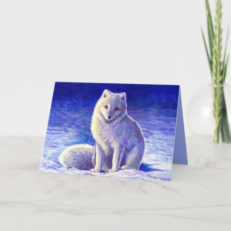 Peaceful Winter Arctic Fox Greeting Card