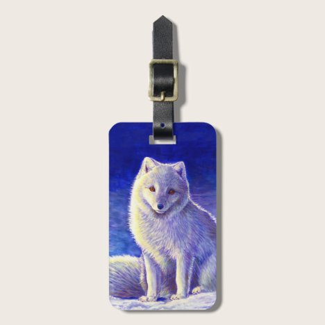 Peaceful Winter Arctic Fox Luggage Tag