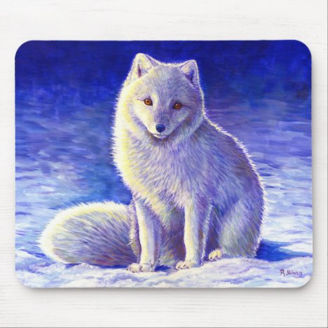 Peaceful Winter Arctic Fox Mouse pad
