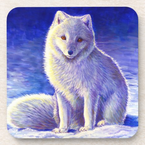 Peaceful Winter Arctic Fox Plastic Coasters