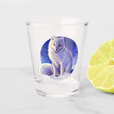 Peaceful Winter Arctic Fox Shot Glass