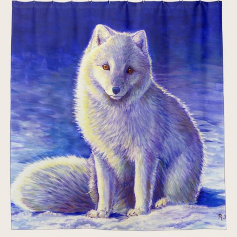 Peaceful Winter Arctic Fox Shower Curtain
