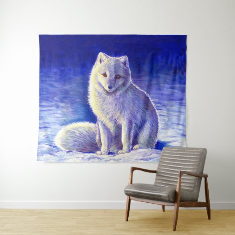 Peaceful Winter Arctic Fox Tapestry