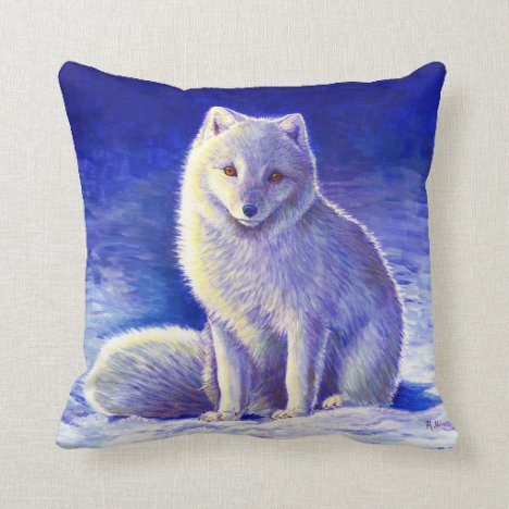 Peaceful Winter Arctic Fox Throw Pillow