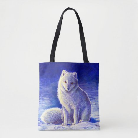 Peaceful Winter Arctic Fox Tote Bag