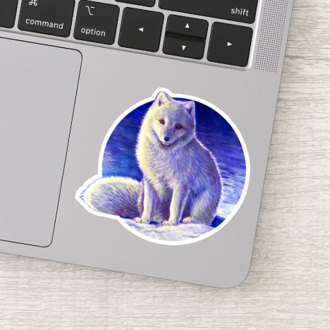 Peaceful Winter Arctic Fox Vinyl Sticker