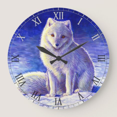 Peaceful Winter Arctic Fox Wall Clock