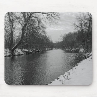 Peaceful Winter At James River Grayscale Mouse Pad