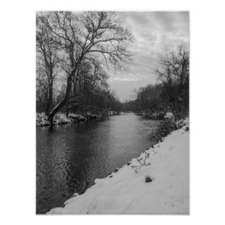 Peaceful Winter At James River Grayscale Poster