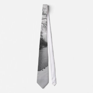 Peaceful Winter At James River Grayscale Tie