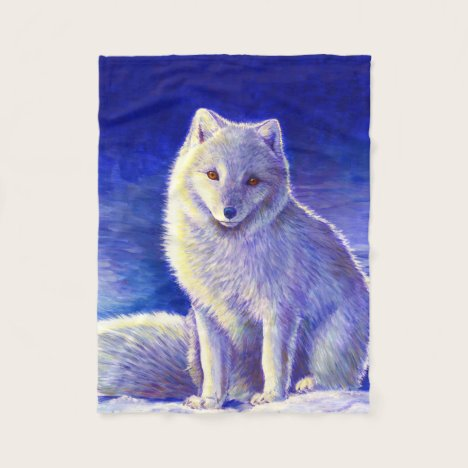 Peaceful Winter Blue Arctic Fox Fleece Blanket