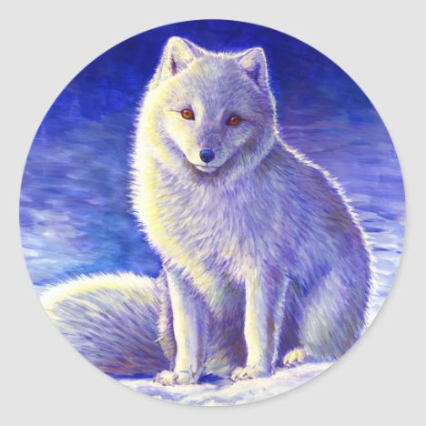 Peaceful Winter Cute Arctic Fox Stickers