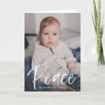 Peaceful Winter | Navy 3 Photo Holiday Card