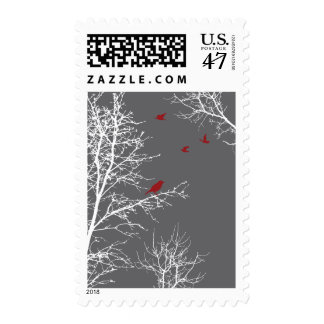 Peaceful Winter Silhouette Trees & Birds - Postage