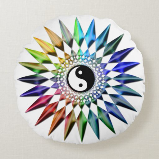 Peaceful Yin Yang Zen Yoga Colorful Meditation Tao Round Pillow