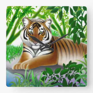 Peaceful Young Bengal Tiger Wall Clock