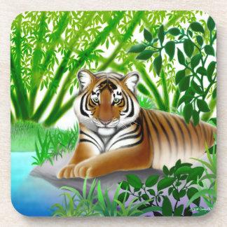Peaceful Young Tiger Cork Coaster