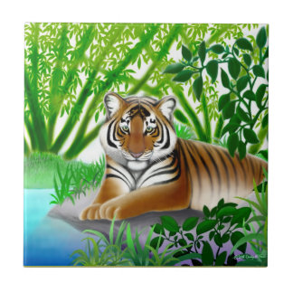 Peaceful Young Tiger Tile