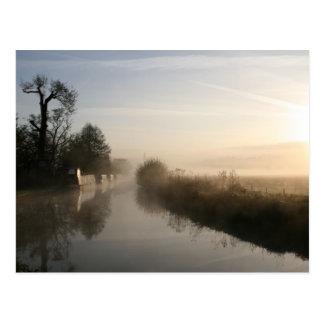 Peacefulness Llangollen Canal Sunrise Postcard