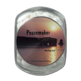 Peacekeeper Bible Quote Glass Candy Jar