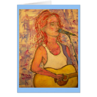 PeaceLove Acoustic Girl Greeting Cards