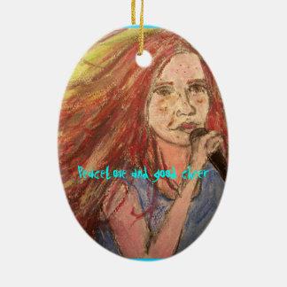 peacelove and good cheer Rocker Girl Ceramic Ornament