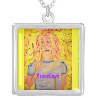 PeaceLove drummer girl Square Pendant Necklace