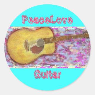 PeaceLove Guitar Classic Round Sticker