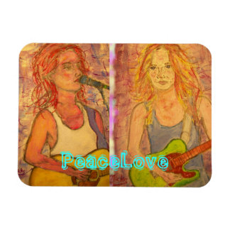 PeaceLove guitar girls Magnet