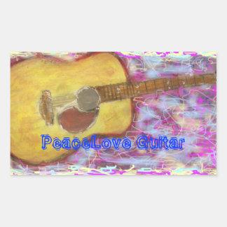 PeaceLove Guitar Rectangular Sticker