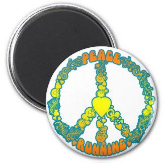 peaceloverunning 2 inch round magnet