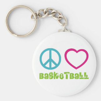 PEACELOVEsymbols-basketball. Basic Round Button Keychain