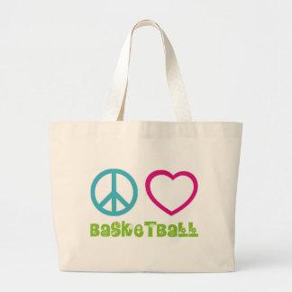 PEACELOVEsymbols-basketball. Large Tote Bag
