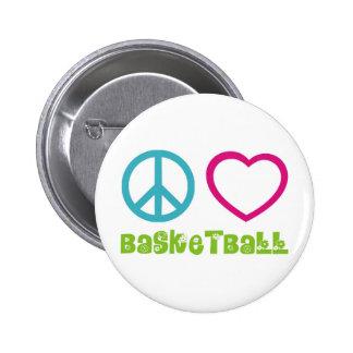 PEACELOVEsymbols-basketball. Pinback Button