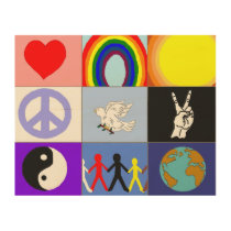 peaceloveunity Mosaic Wood Wall Decor