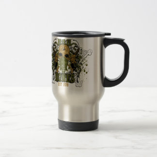 peacemaker falls asleep on the silver star travel mug