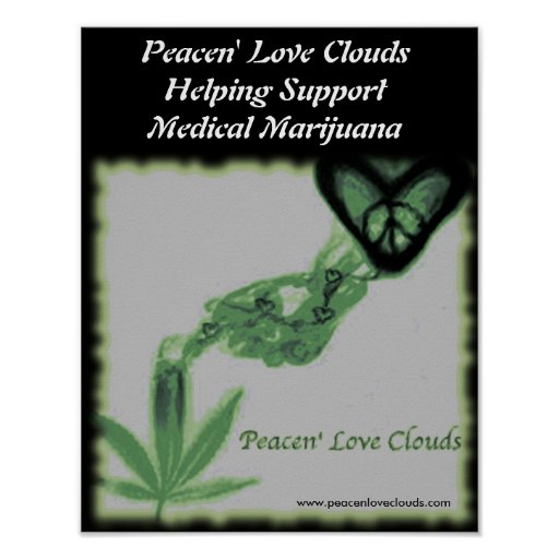 Peacen' Love Clouds Poster