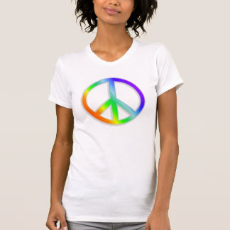 peacenik cnd symbol in rainbow color tshirt