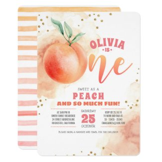 Peach 1st Birthday Invitations