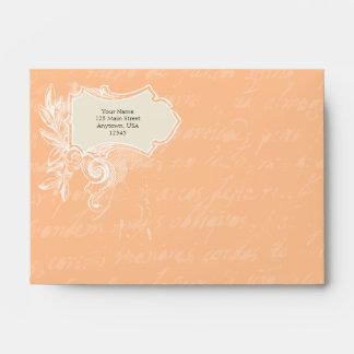 Peach A6 Vintage Script Envelopes