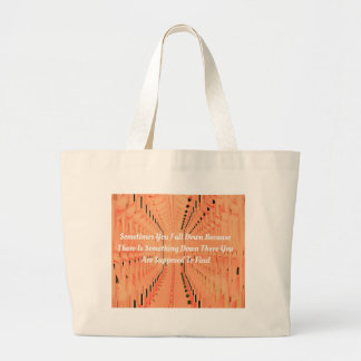 Peach Abstract Modern Motivational Phrase Large Tote Bag