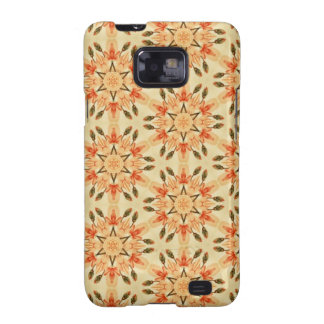 Peach Abstract Star Quilt Floral Repeating Pattern Samsung Galaxy SII Cases