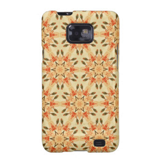 Peach Abstract Star Quilt Floral Repeating Pattern Samsung Galaxy S2 Case