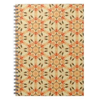 Peach Abstract Star Quilt Floral Repeating Pattern Notebook