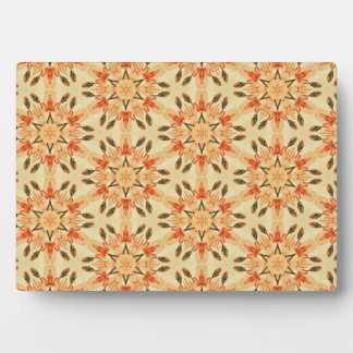 Peach Abstract Star Quilt Floral Repeating Pattern Plaque