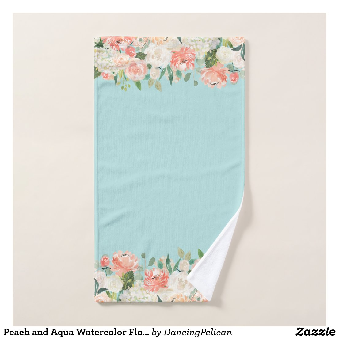 Peach and Aqua Watercolor Floral Pattern Bath Towel Set