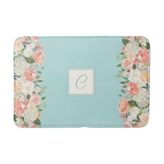 Peach and Aqua Watercolor Floral with Monogram Bathroom Mat