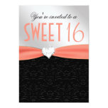 "Peach and Black Floral Damask Diamond Heart 5"" X 7"" Invitation Card"