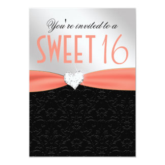 Peach and Black Floral Damask Diamond Heart Personalized Announcement